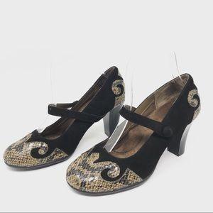 Aerosoles Womens Heels 7M Black Suede Mary Jane